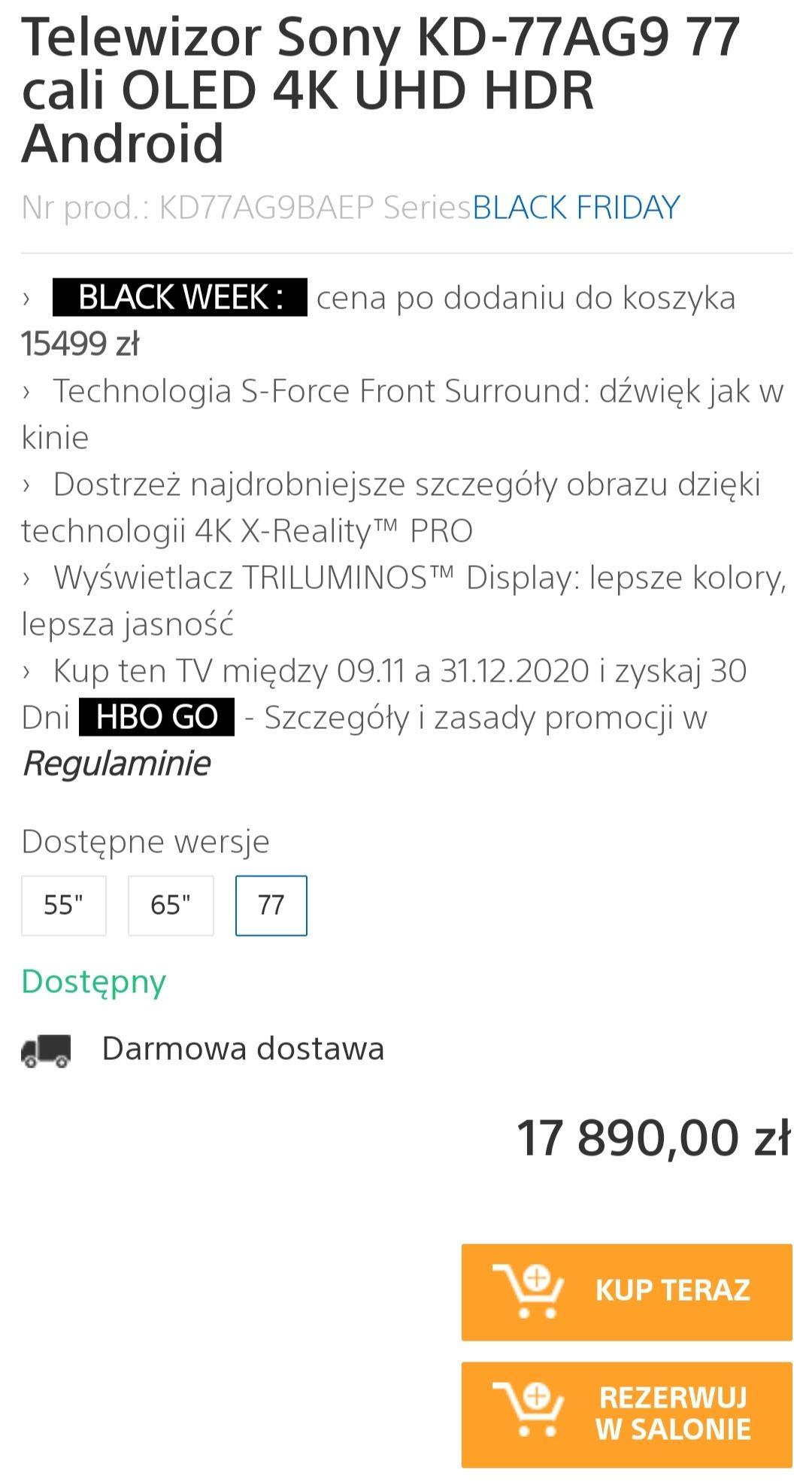 Telewizor Sony KD-77AG9 77 cali OLED 4K UHD HDR Android