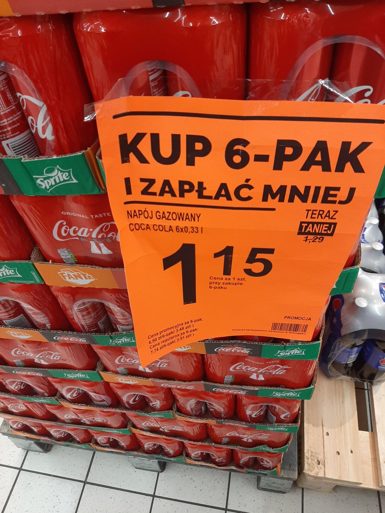6-pak Coca-Cola 1,15 zł/330 ml - Biedronka