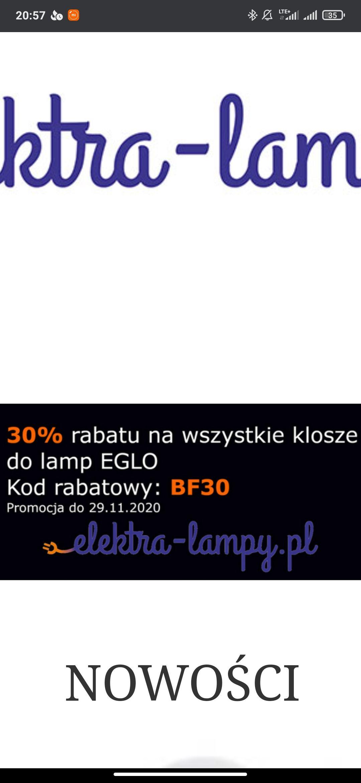 -30% na klosze do lamp Eglo i lampy reality