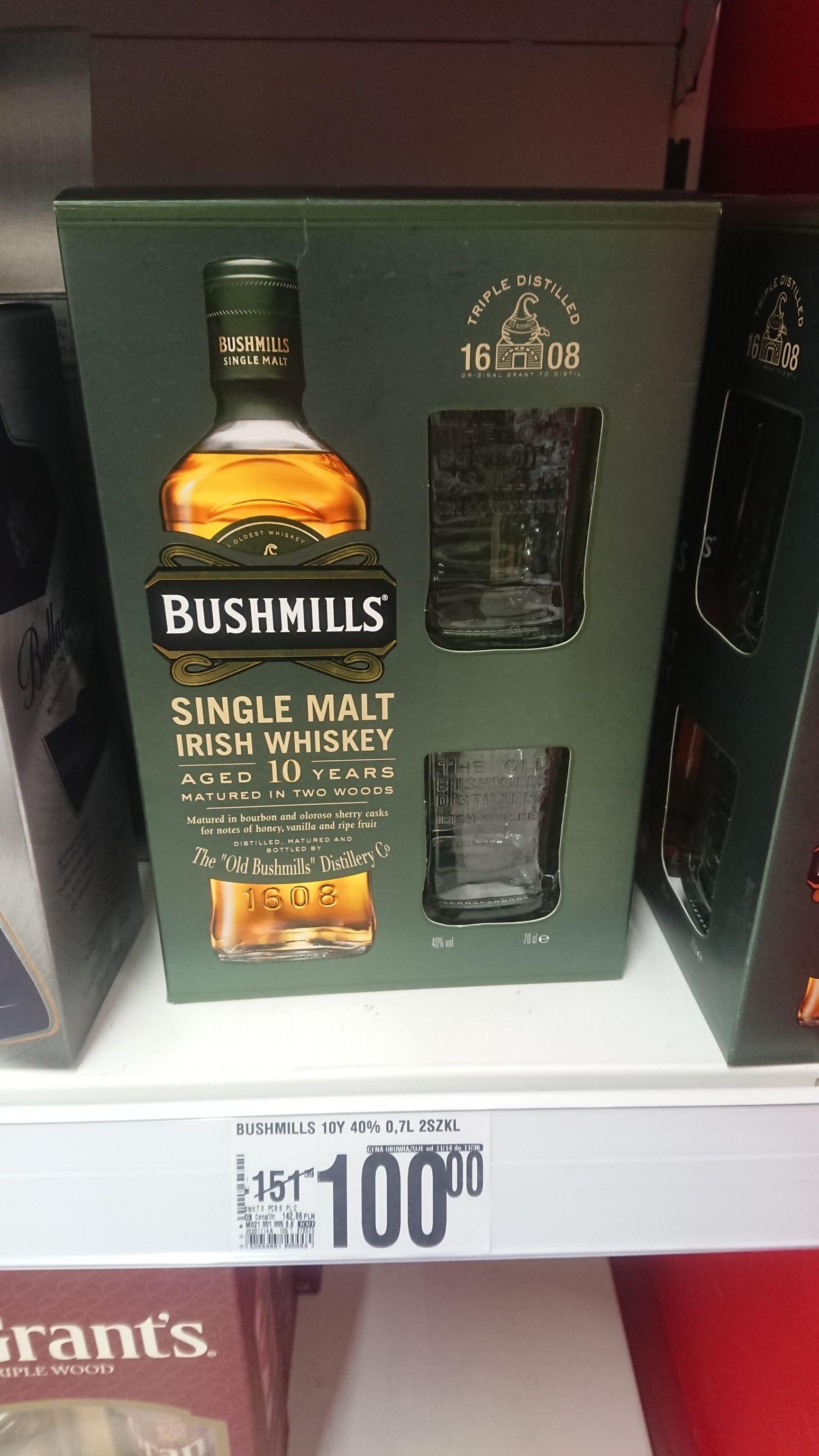 Auchan Bushmills 0,7l Single malt whisky + 2 szklanki za stówkę