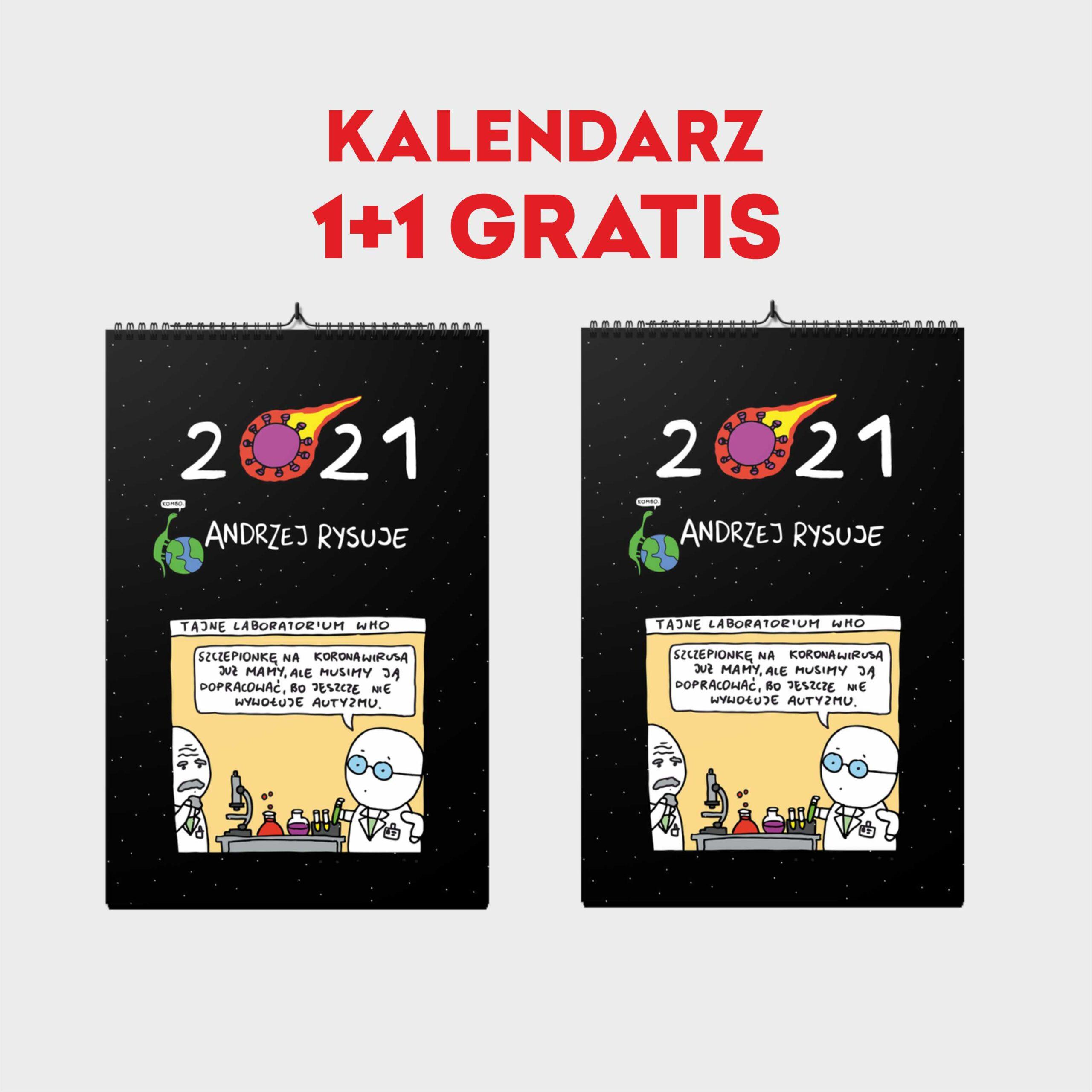 1+1 gratis Kalendarz Andrzej Rysuje 2021