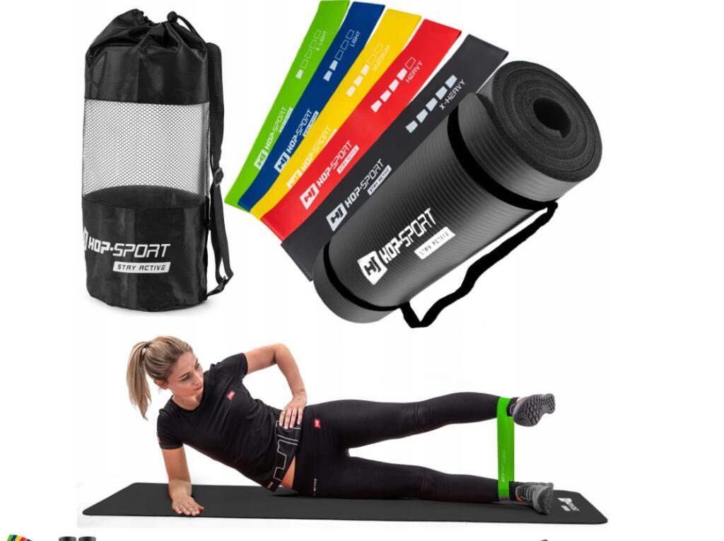 Zestaw mata fitness+zestaw taśm oporowych+woreczek