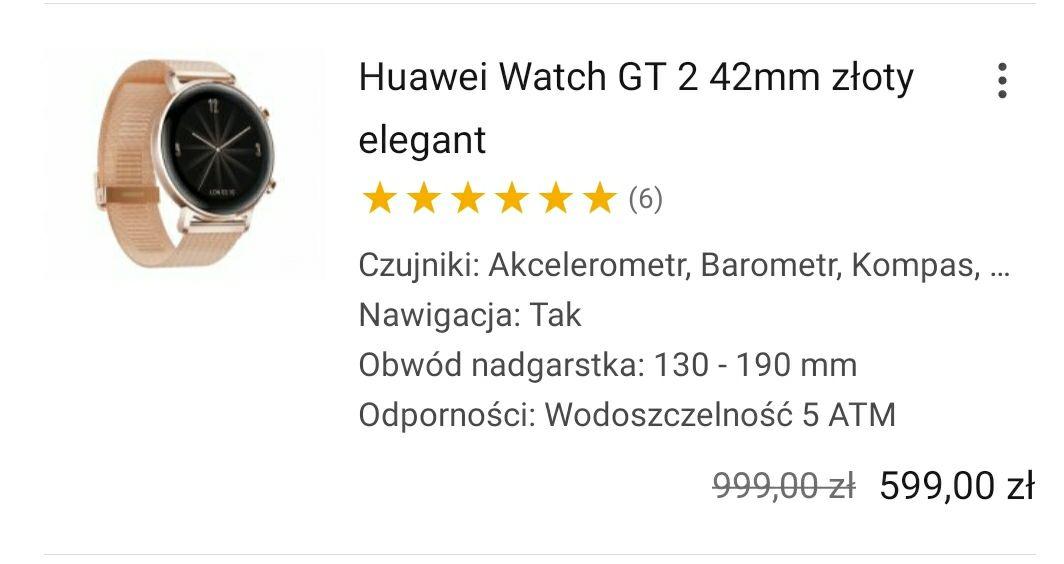Zegarek Huawei Watch GT 2 42mm złoty elegant