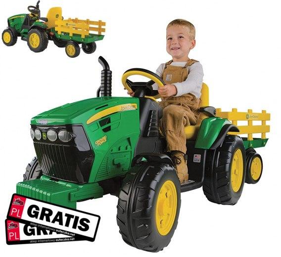 Włoskie Traktorki JOHN DEERE na akumulator z przyczepką