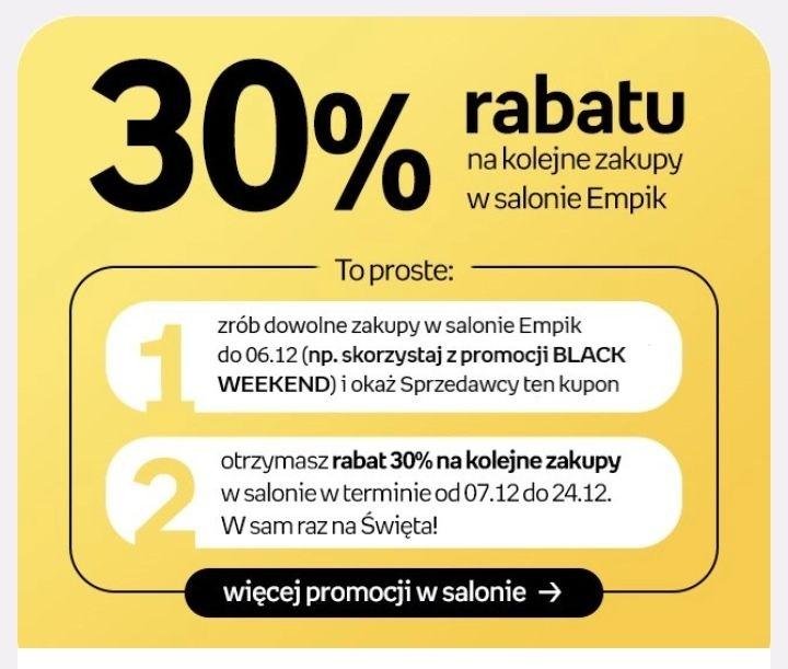 Rabat -30% na zakupy w salonach Empik za min. 100 zł dla Klientów Empik Premium i Empik Premium FREE