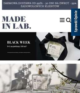 3+1 gratis(0.01zł) na perfumy 100ml w Made In Lab