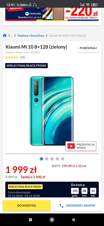 Smartfon Xiaomi mi 10 8/128gb szary/zielony