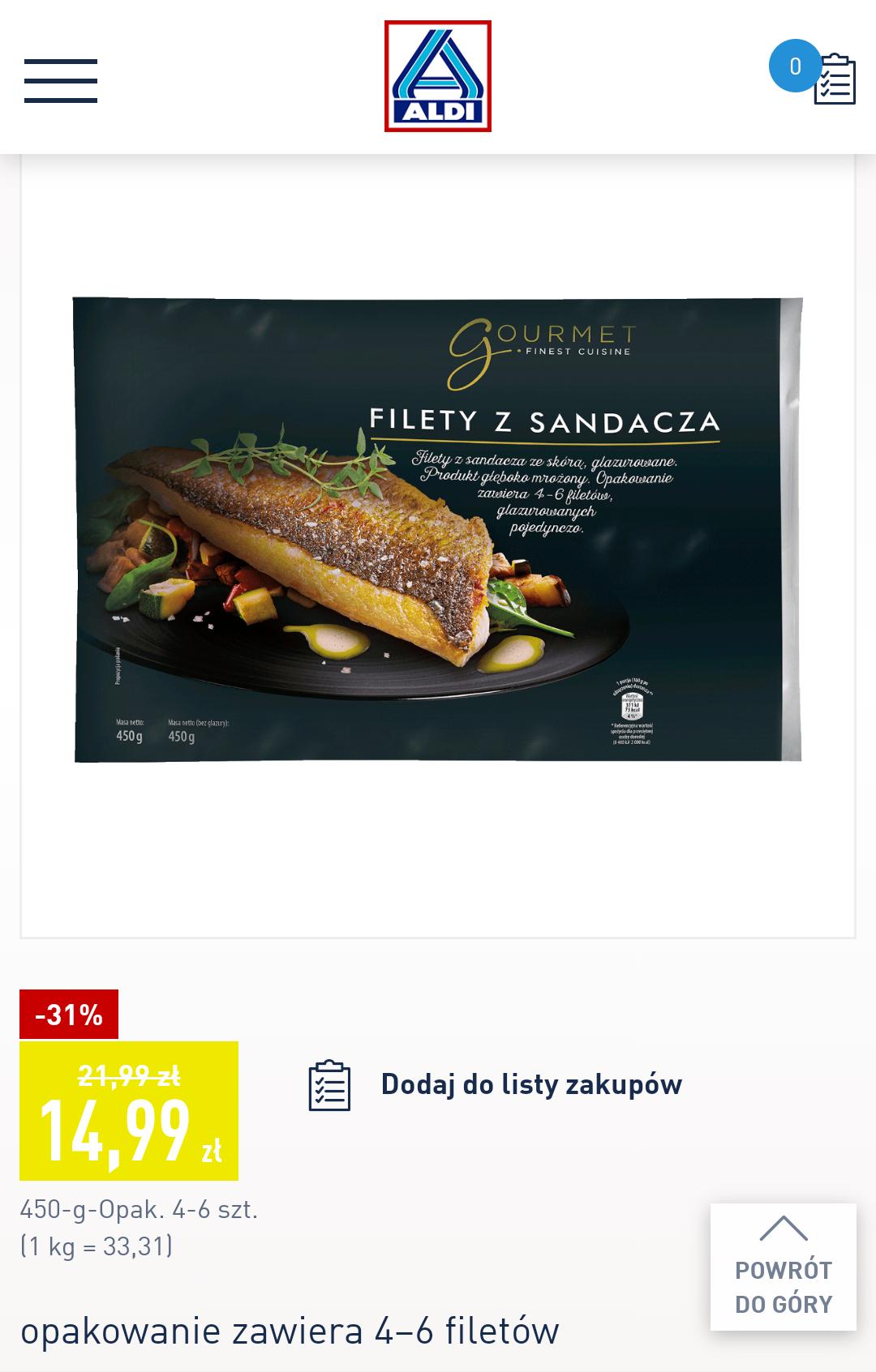 ALDI Filety z Sandacza -31%