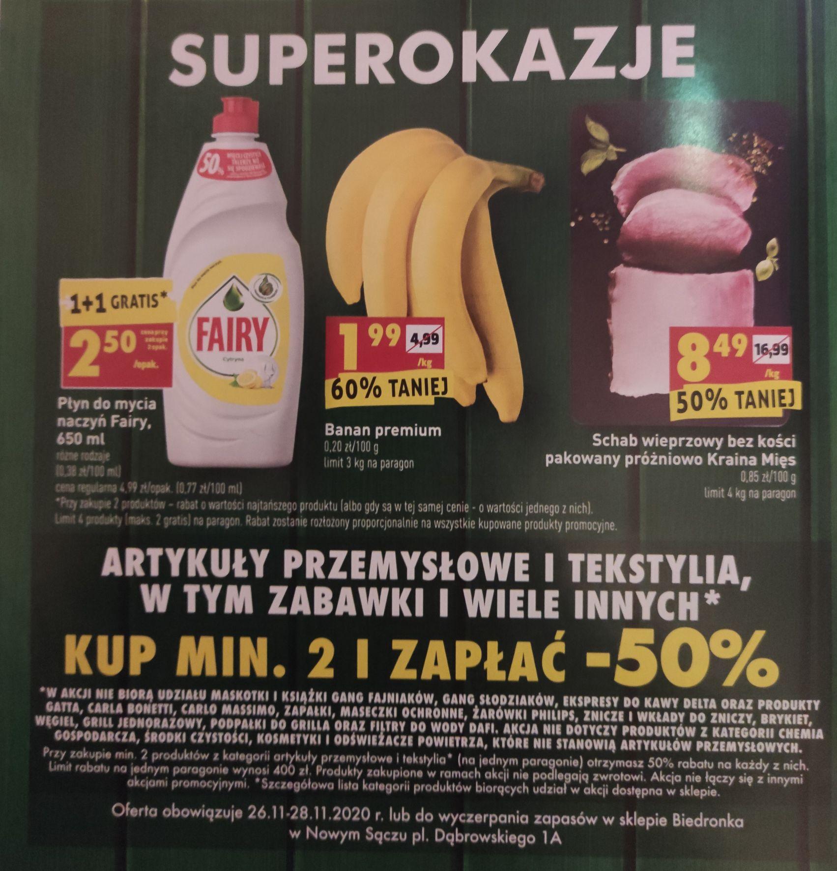 Płyn Fairy 1+1, Banany 1.99/kg, art. przemysłowe 50% taniej i inne - Biedronka Nowy Sącz, pl. Dąbrowskiego