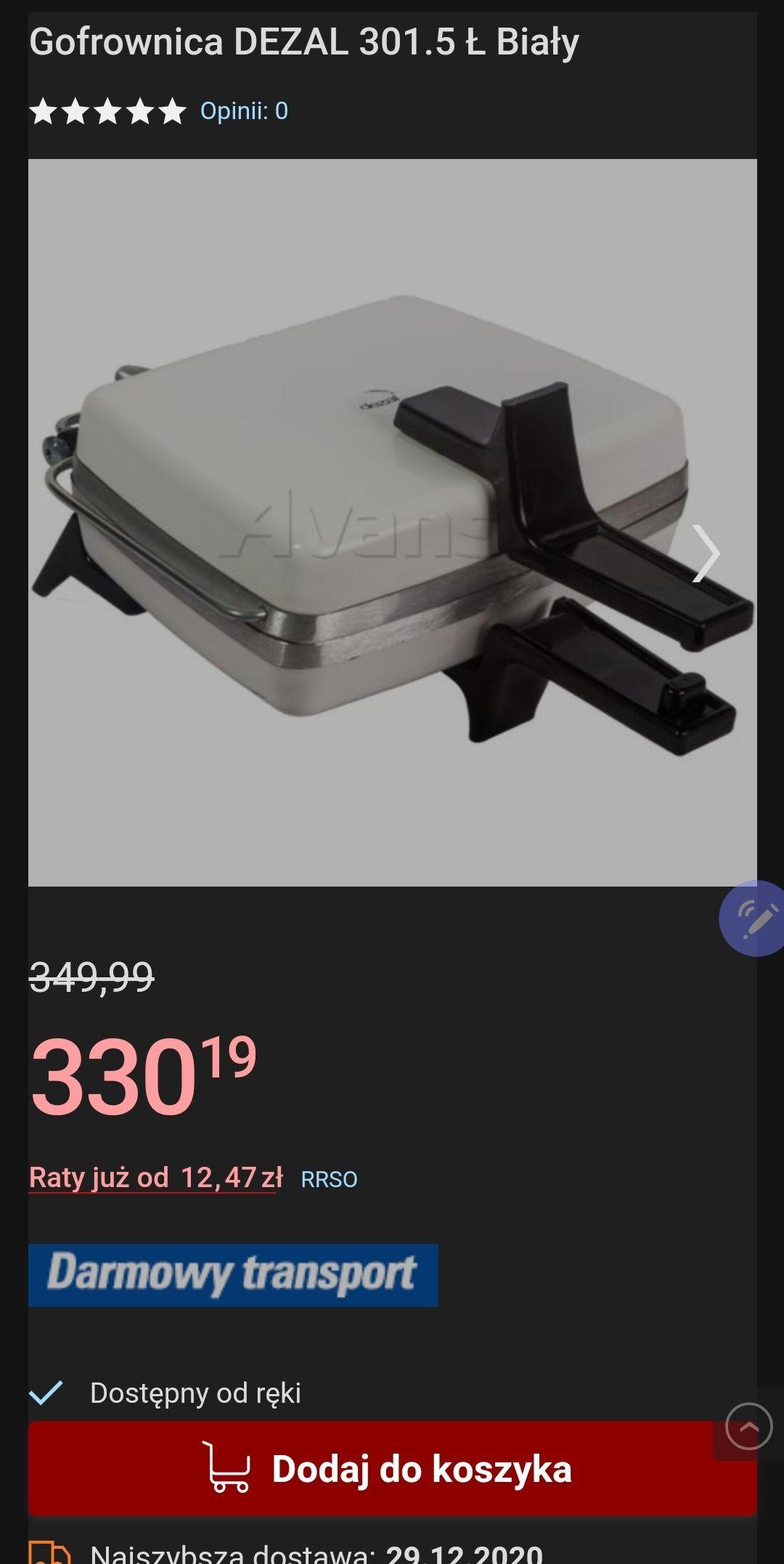 Gofrownica DEZAL 301.5 Ł, możliwy casback. Avans