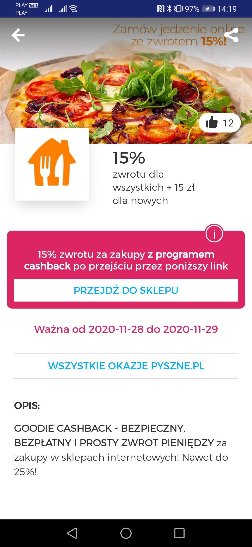 15 zł dla nowych +15 %zwrotu cashback