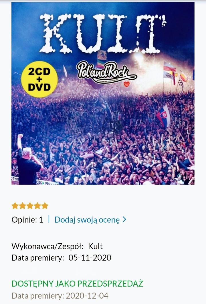 Płyta kompaktowa Kult Pol'And'Rock Festival 2019 (2xCD+DVD) przedsprzedaż-wznowienie wysyłka po 04.12.2020 Black week 8% taniej na LIVRO.PL