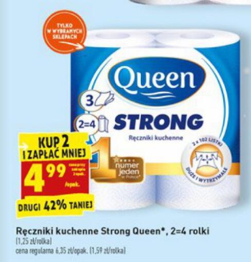 Ręczniki kuchenne Queen Strong 2=4 rolki 4,99zł przy zakupie 2 - Biedronka