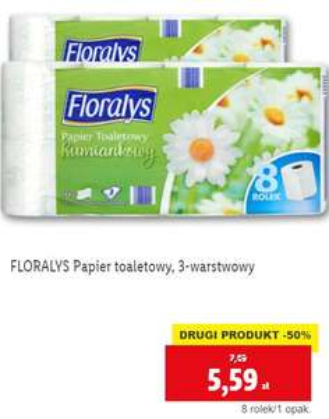 Papier toaletowy rumiankowy Floralys @ Lidl za 5,59 przy zakupie dwóch opakowań