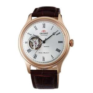 Orient Men's Open Heart Automatic Brown Leather Strap Watch FAG00001S0