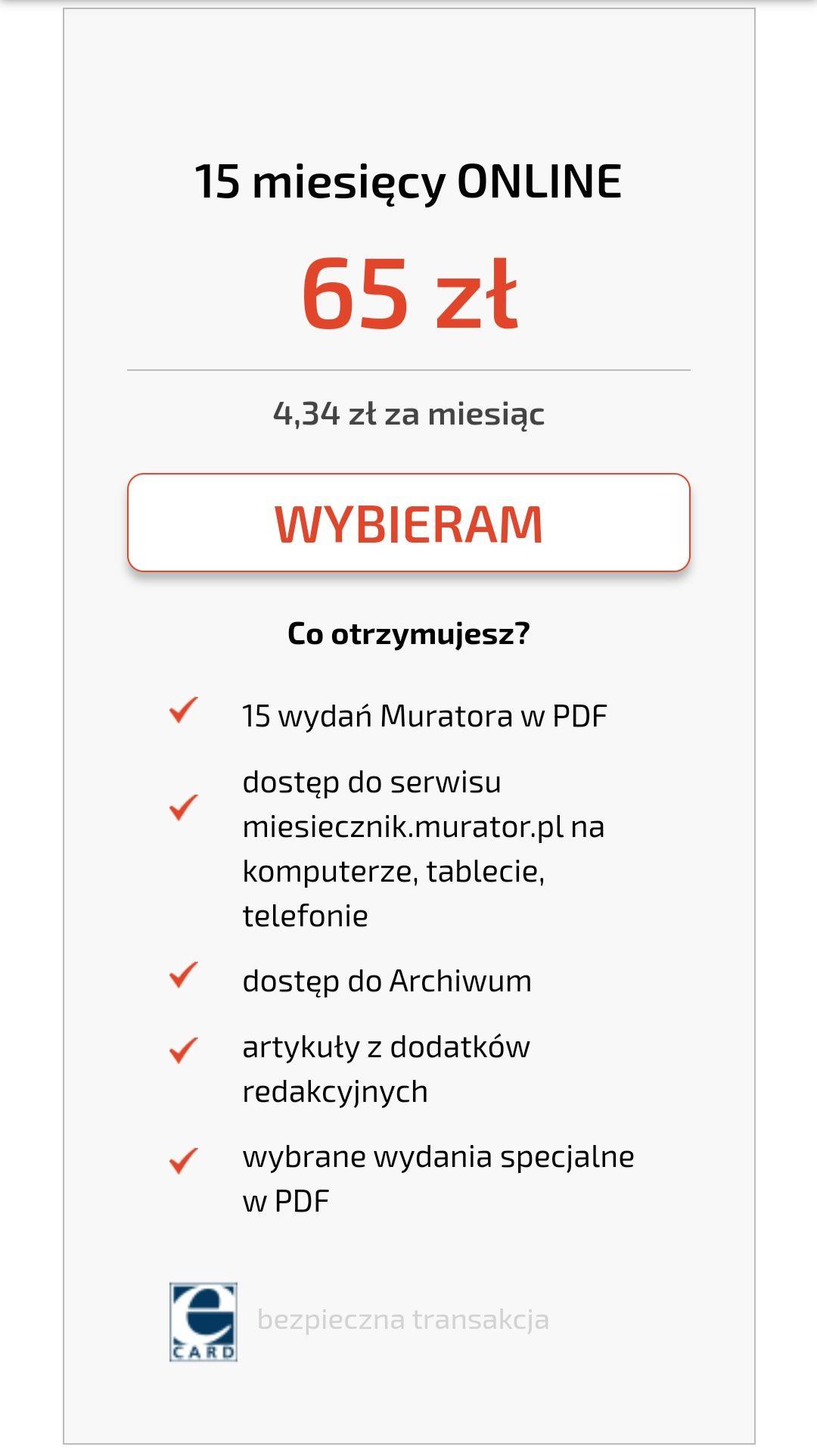 Prenumerata miesięcznika Murator 15 m-cy za 65 zł