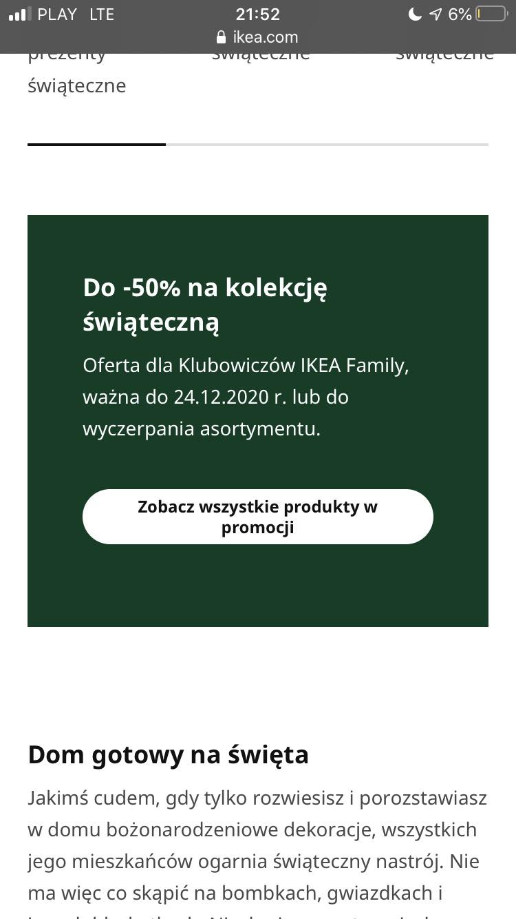 Ikea- Do -50% na kolekcję świąteczną- Oferta dla Klubowiczów IKEA Family