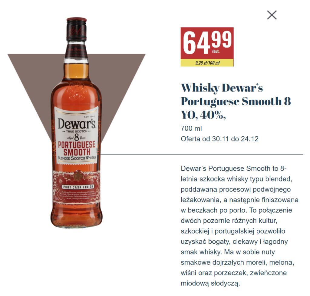 Whisky Dewar's Portuguese Smooth Port Cask Finish 8yo (0,7l) - nowość w sieci Biedronka!