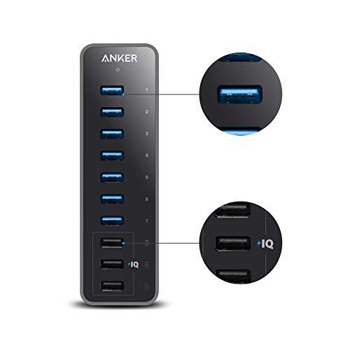 Anker koncentrator USB 3.0 aktywny z zasilaczem 60 W, z 7 wejściami USB 3.0 i z 3 portami ładującymi PowerIQ