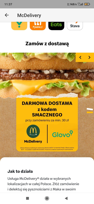 Darmowa dostawa z McDonald's przy MWZ 30 zł.
