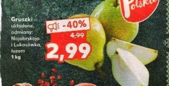 Gruszki 2,99zł/kg w Kaufland