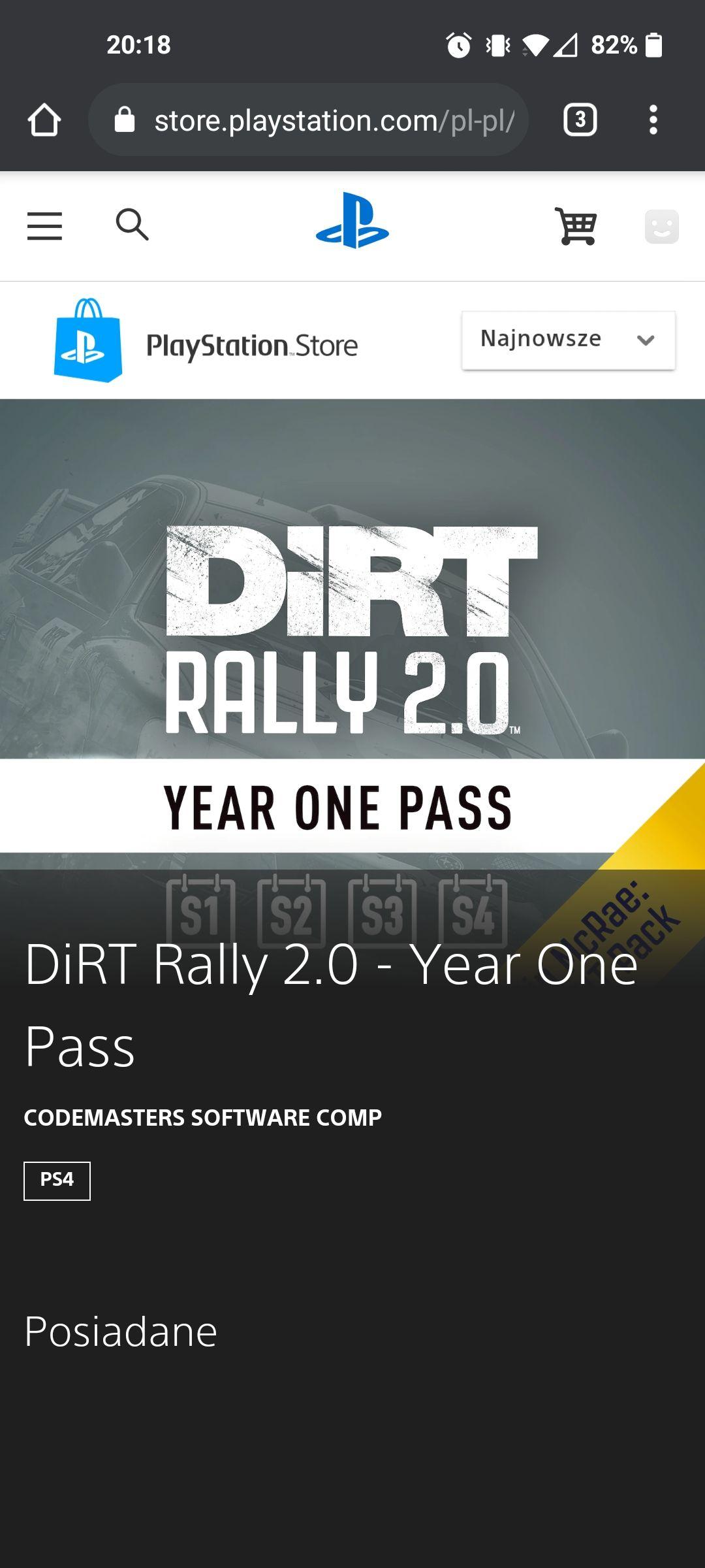 Dirt Rally 2.0 PS4 Year One Pass - wszystkie dodatki