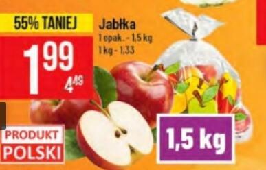 Jabłka 1,5 kg/opak. (1,33 zł/kg) @Polomarket
