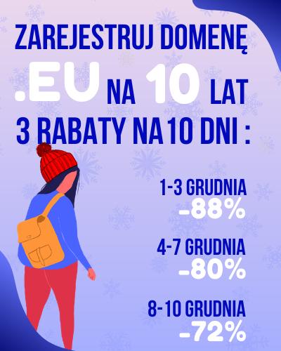 Domeny .EU na 10 lat 88% taniej