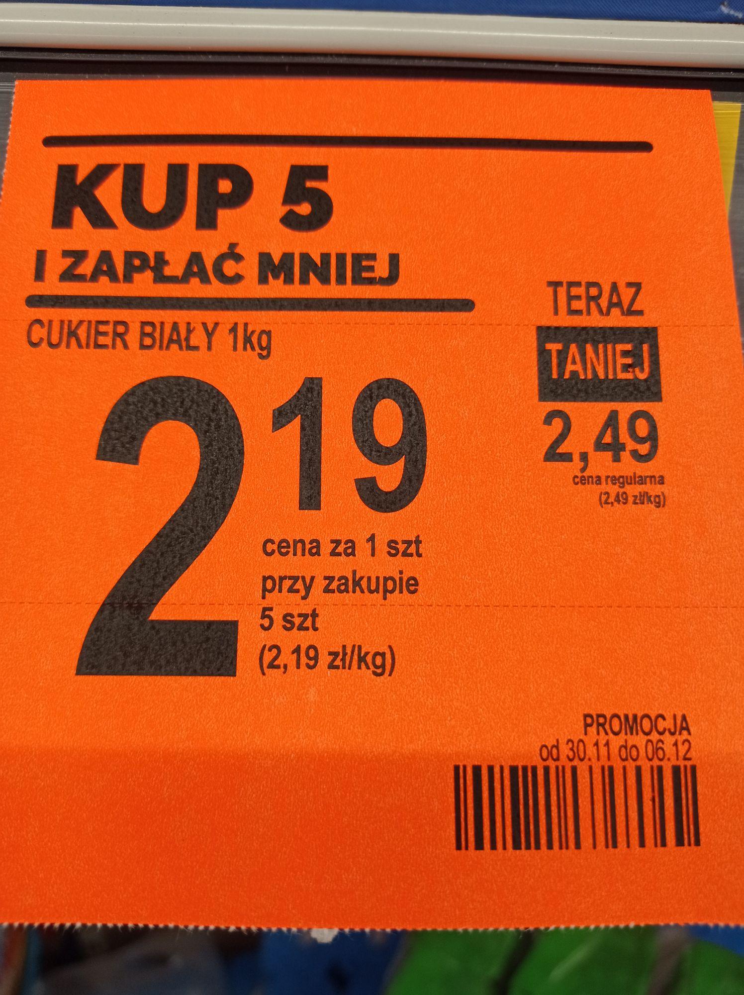 Cukier 2.19 przy zakupie 5szt Biedronka z kartą Moja Biedronka