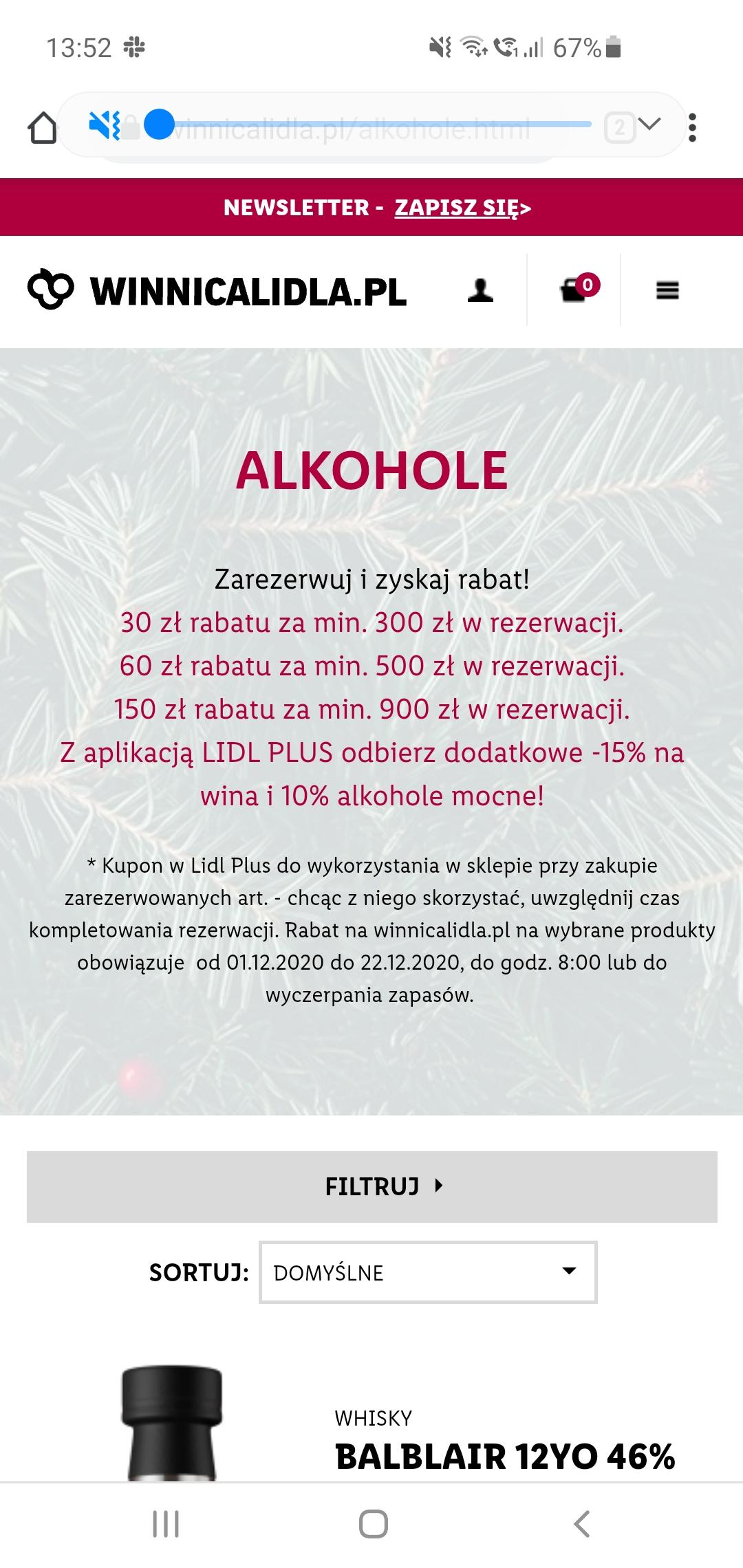 Winnica Lidla - Świąteczna promocja na Whisky, zniżka max 150zl + 10% lidl plus