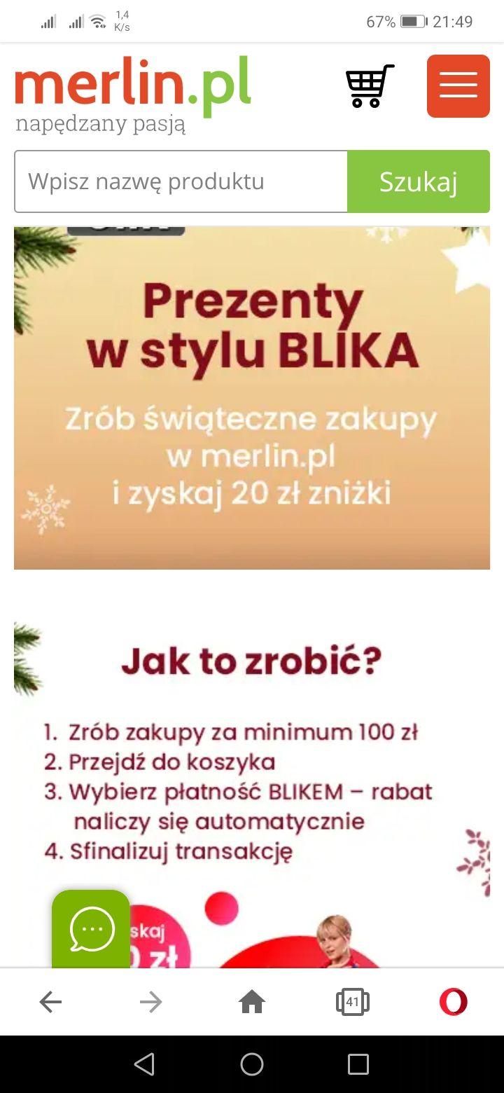 20 zł rabatu przy zakupie za 100 zł na merlin.pl, przy płatności blikiem.