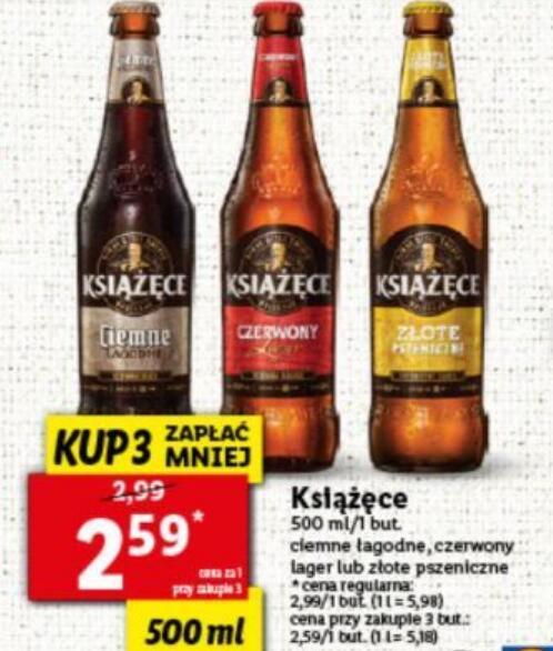 Piwo Książęce 0,5 l przy zakupie 3 butelek @Lidl