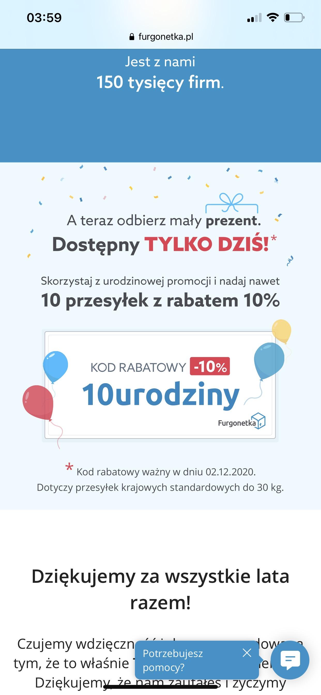 Furgonetka.pl 10% zniżki na 10 paczek tylko 2 grudnia