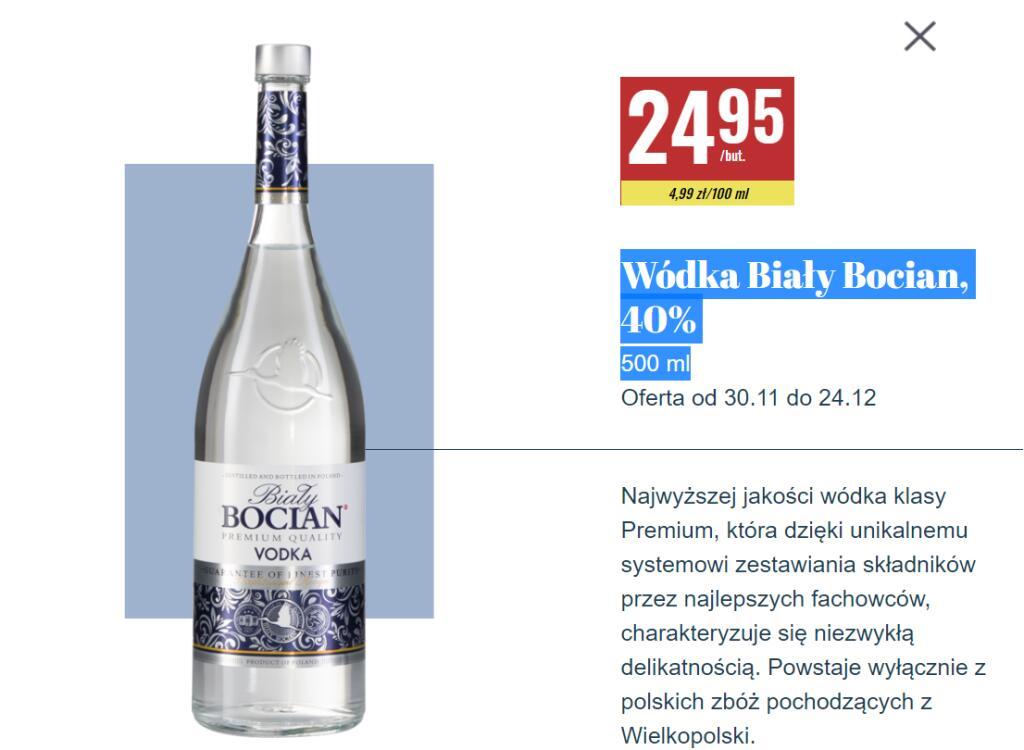 Wódka Biały Bocian, 40% 500 ml +inne wódeczki w piwniczce Biedronki