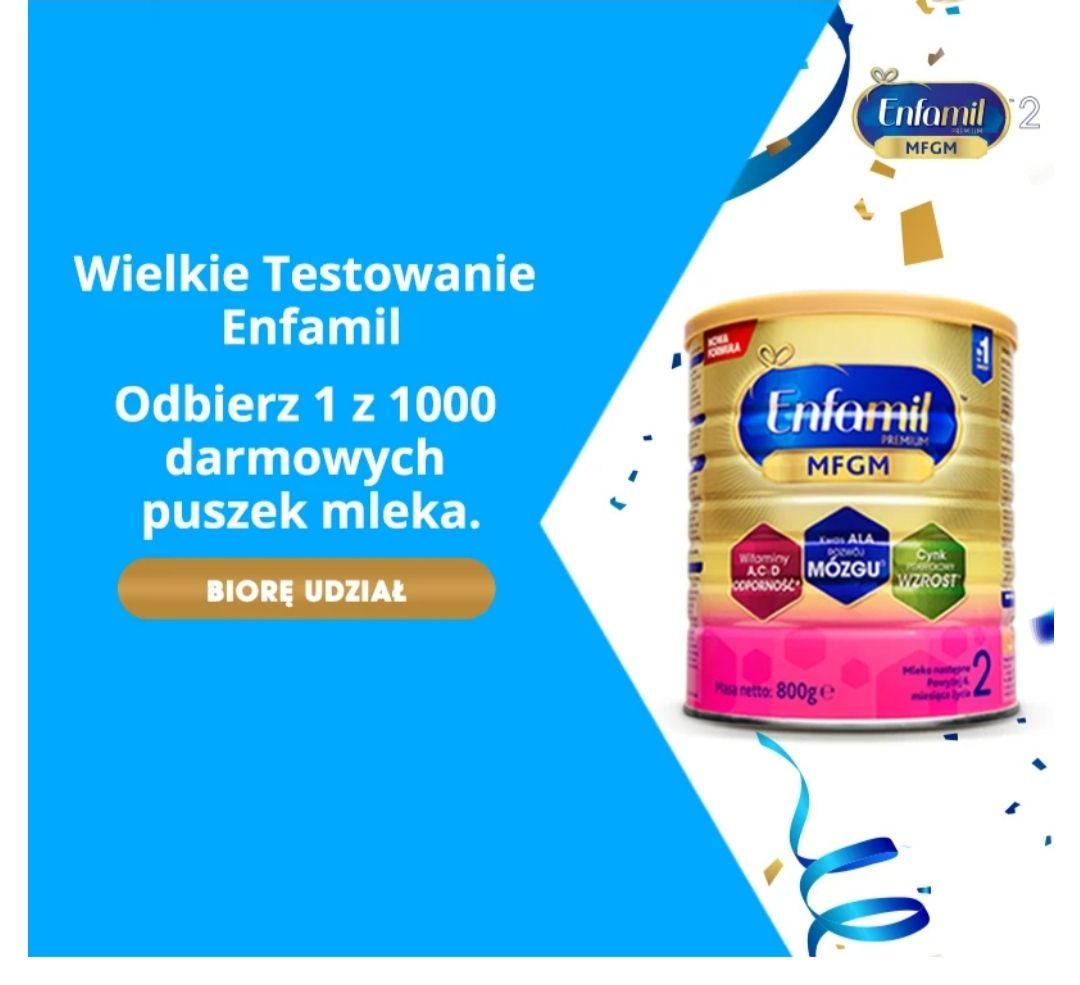 Darmowa puszka mleka modyfikowanego Enfamil - testowanie