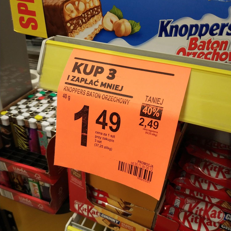 Baton Knoppers 1,49 zł przy zakupie 3 sztuk