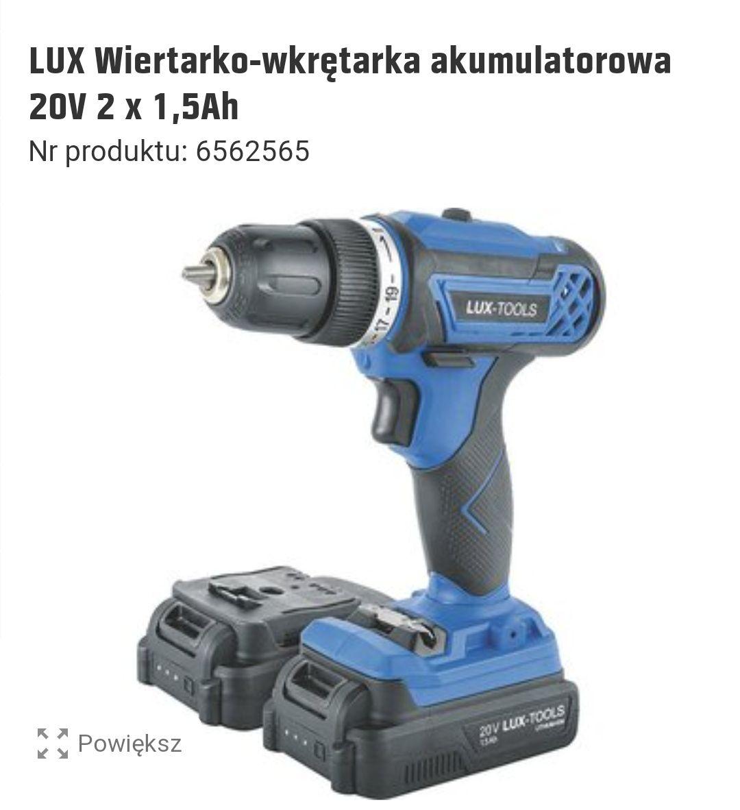 LUX Wiertarko-wkrętarka akumulatorowa 20V 2 x 1,5Ah