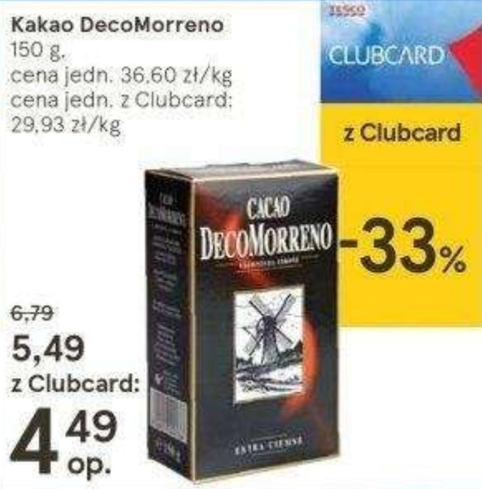 Kakao DecoMorreno 150g. w Tesco, cena z clubcard