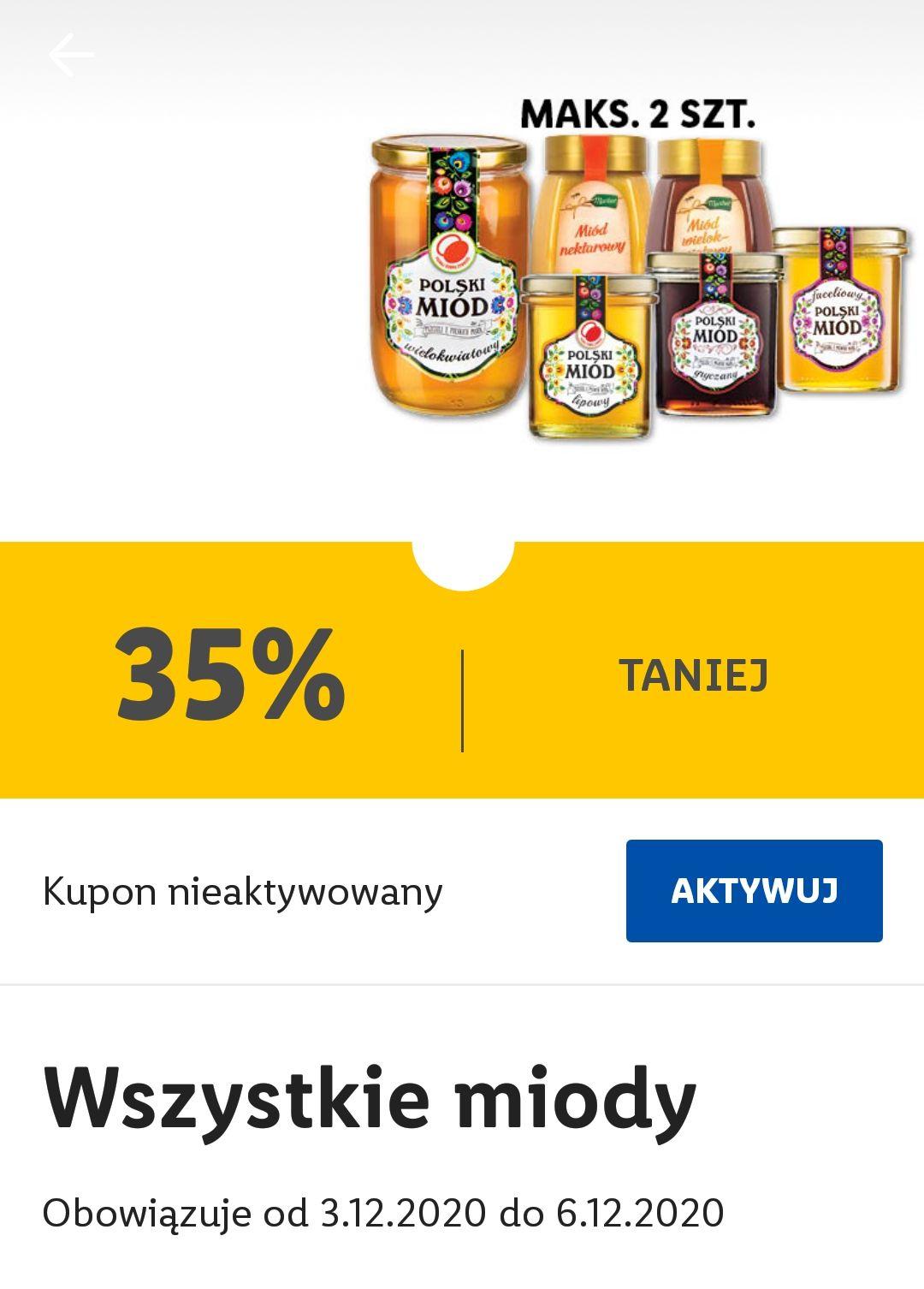 Wszystkie miody (miód) 35% taniej w Lidl