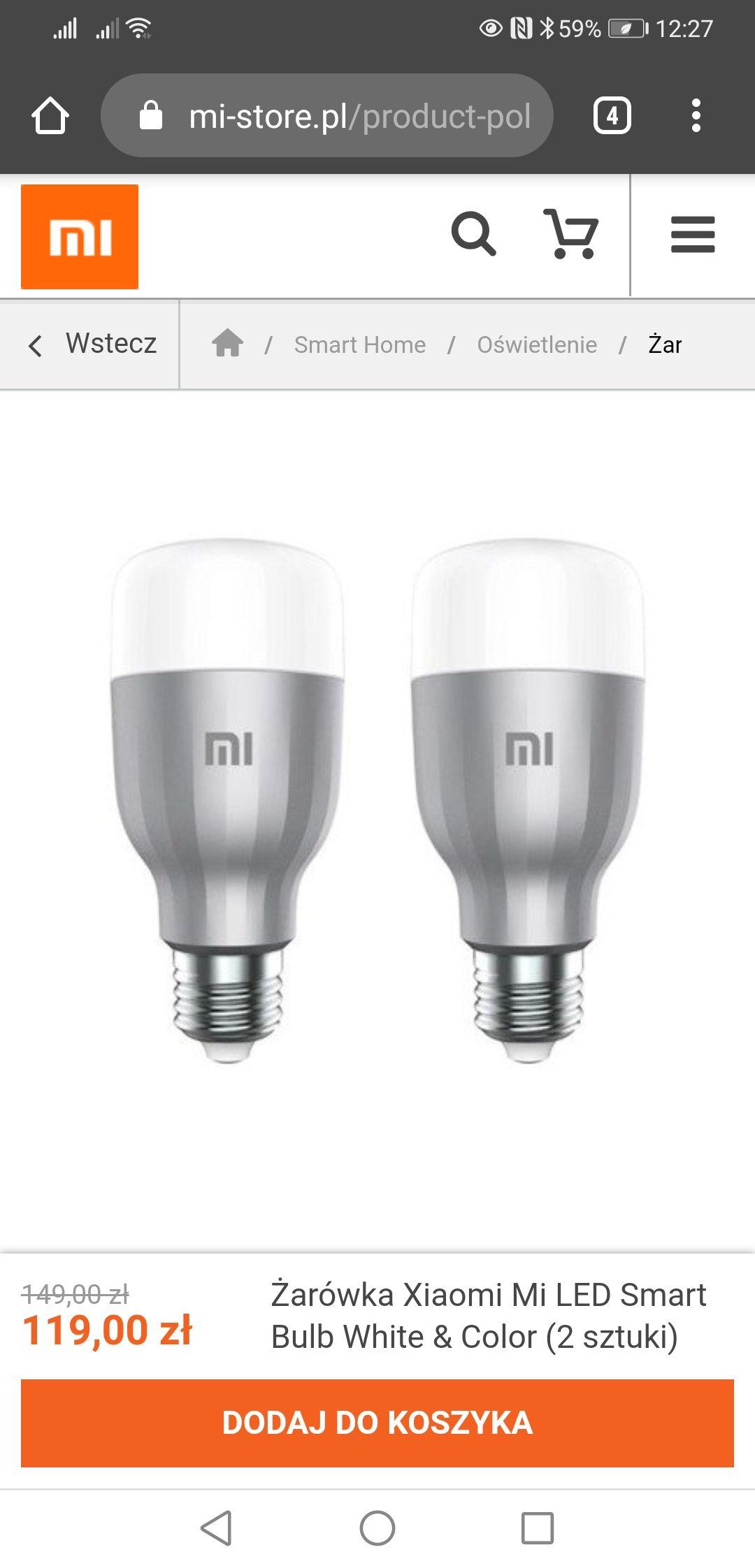 Żarówka Xiaomi Mi LED Smart Bulb White & Color (2 sztuki)
