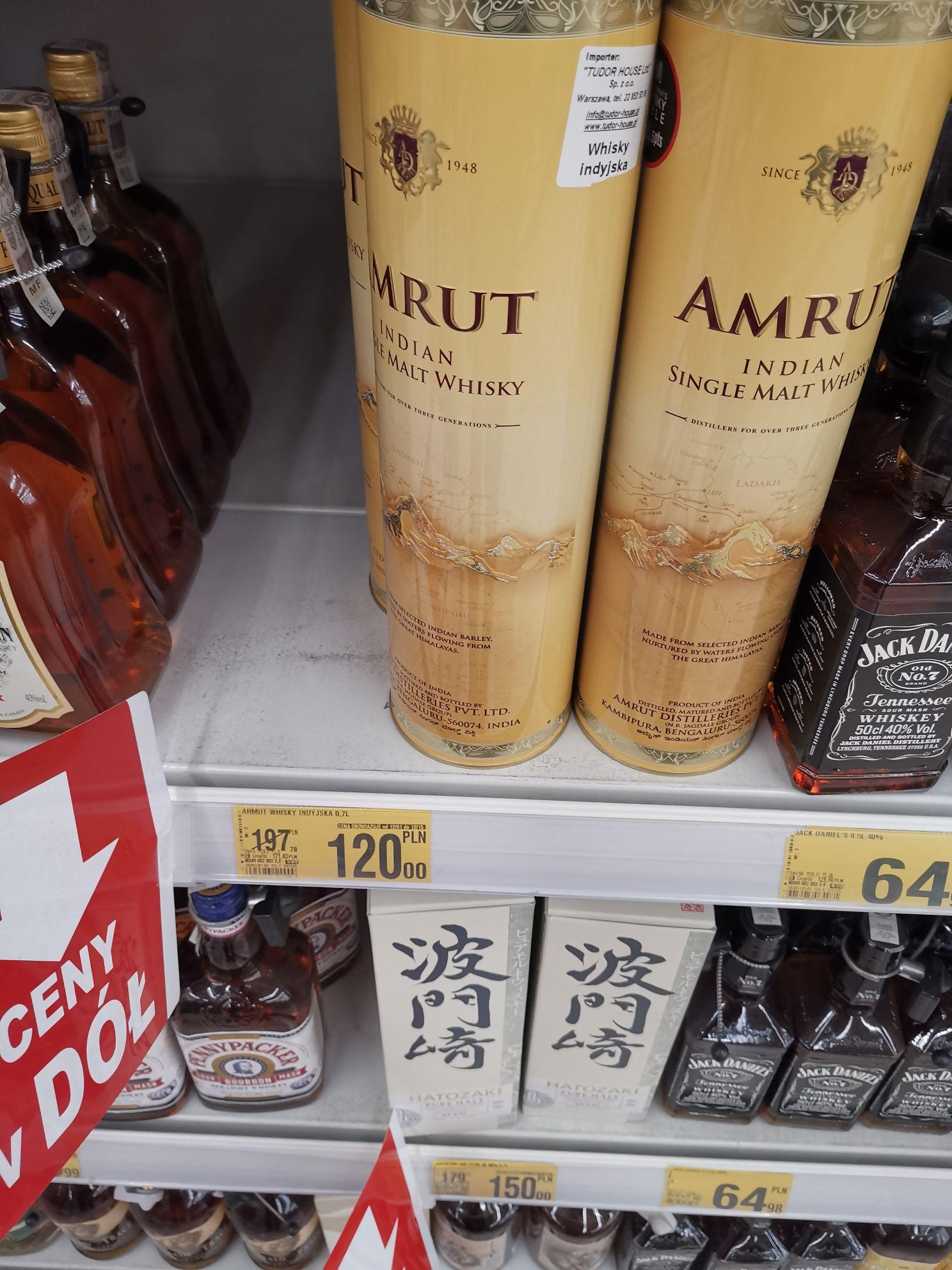 Whisky Amrut Single Malt. Auchan Tychy.
