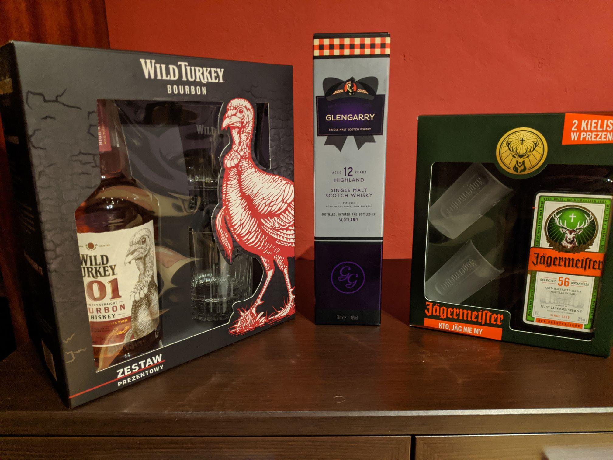 Whisky Glengarry 12yo 0,7l. Jägermeister, Wild Turkey 101 Auchan Szczecin Struga