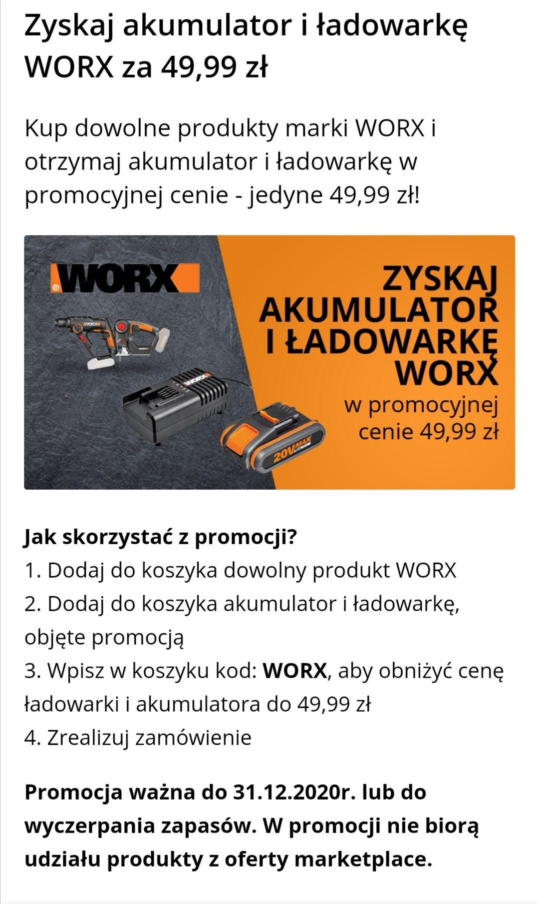 Akumulator + ładowarka za 50 zł przy zakupie narzędzi WORX na stronie budujesz.pl