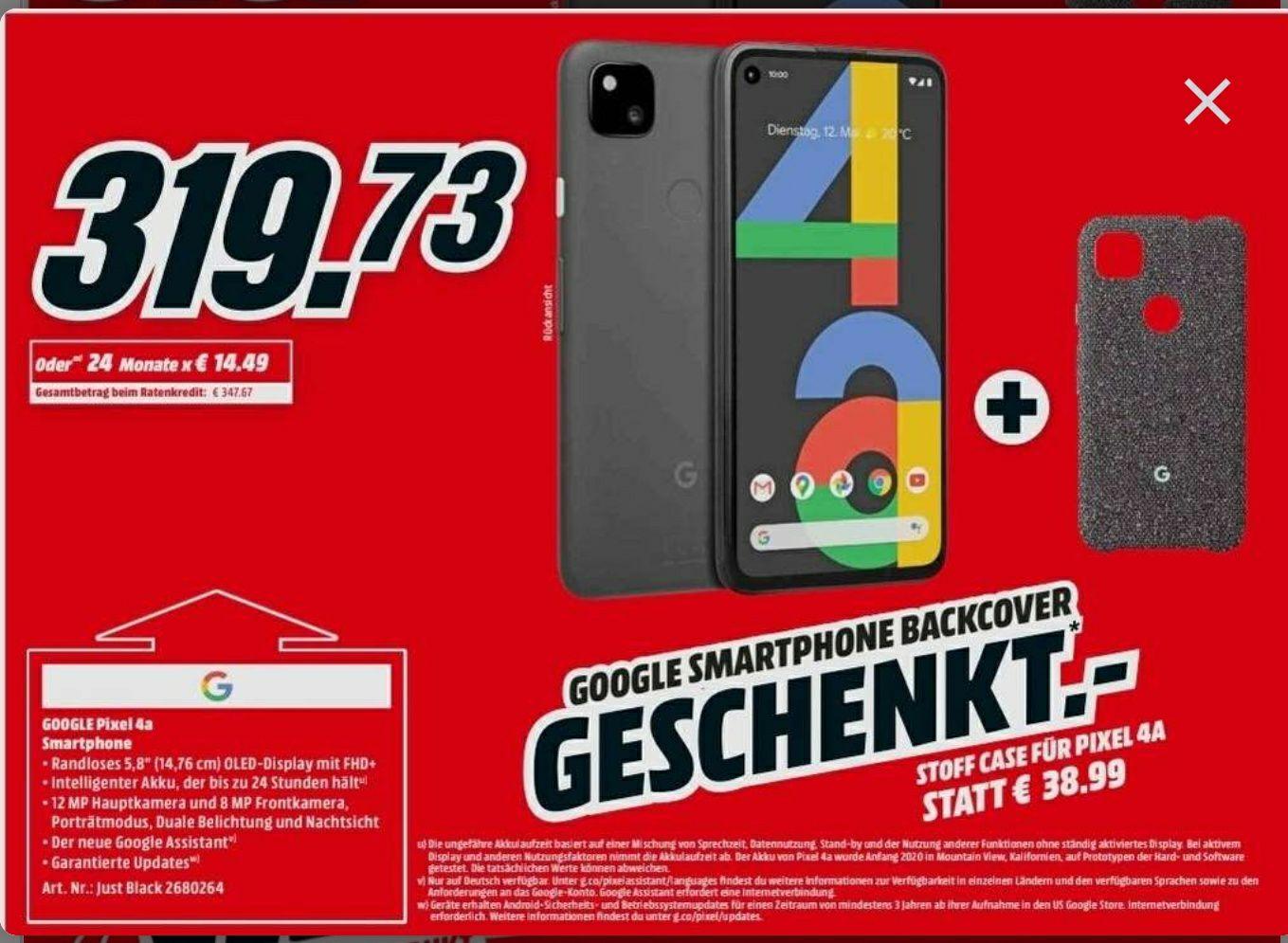 Google Pixel 4a + etui z niemieckiego Media Markt.