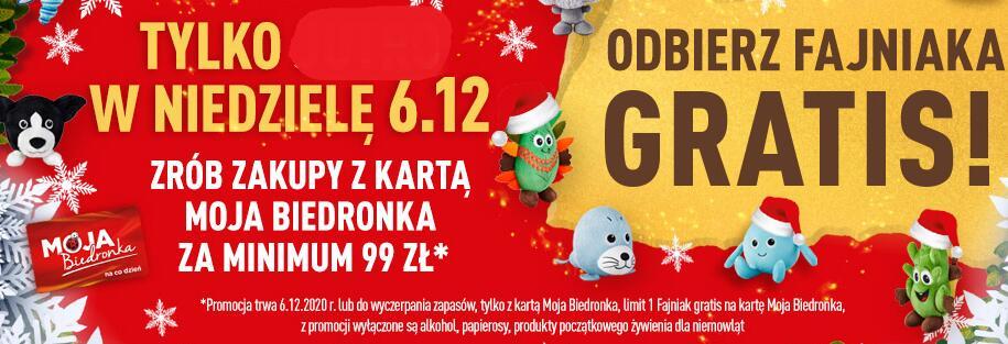 Fajniak gratis w Mikołajki / Biedronka (zakupy za min 99zł)