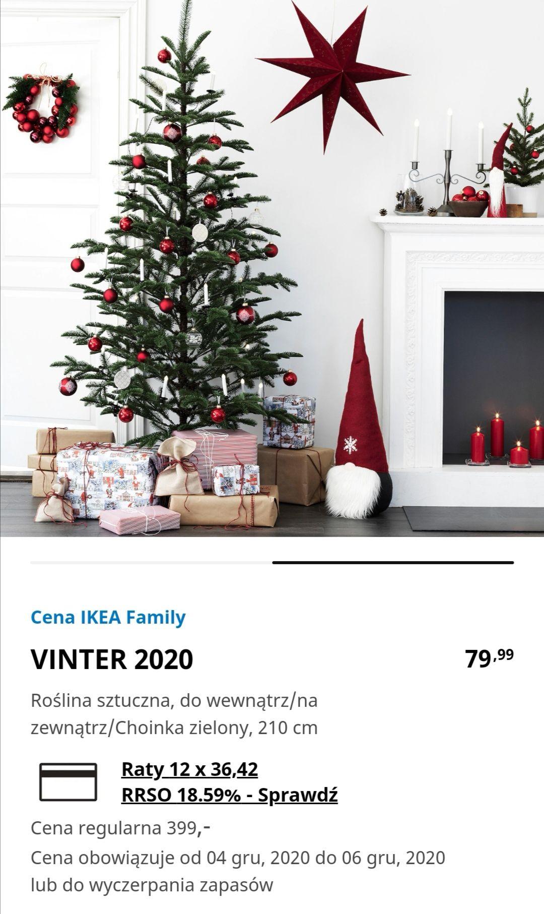 Świetna cena drzewek świątecznych w Ikea! Z 399 PLN na 79 PLN Dostępne również inne tańsze modele.