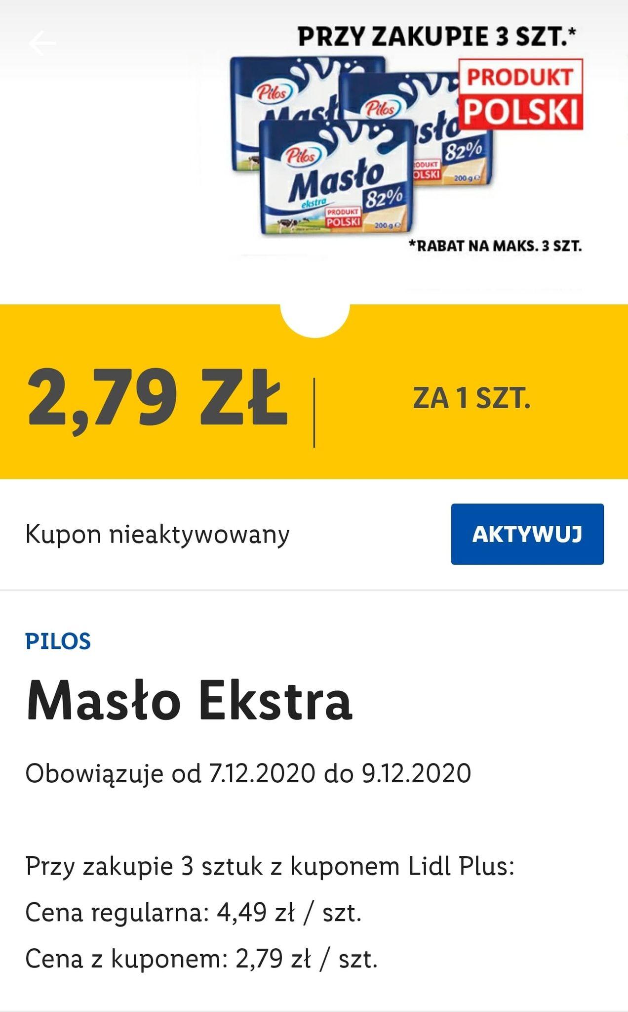 Masło Pilos Ekstra - 2,79zł przy zakupie 3 sztuk - Lidl