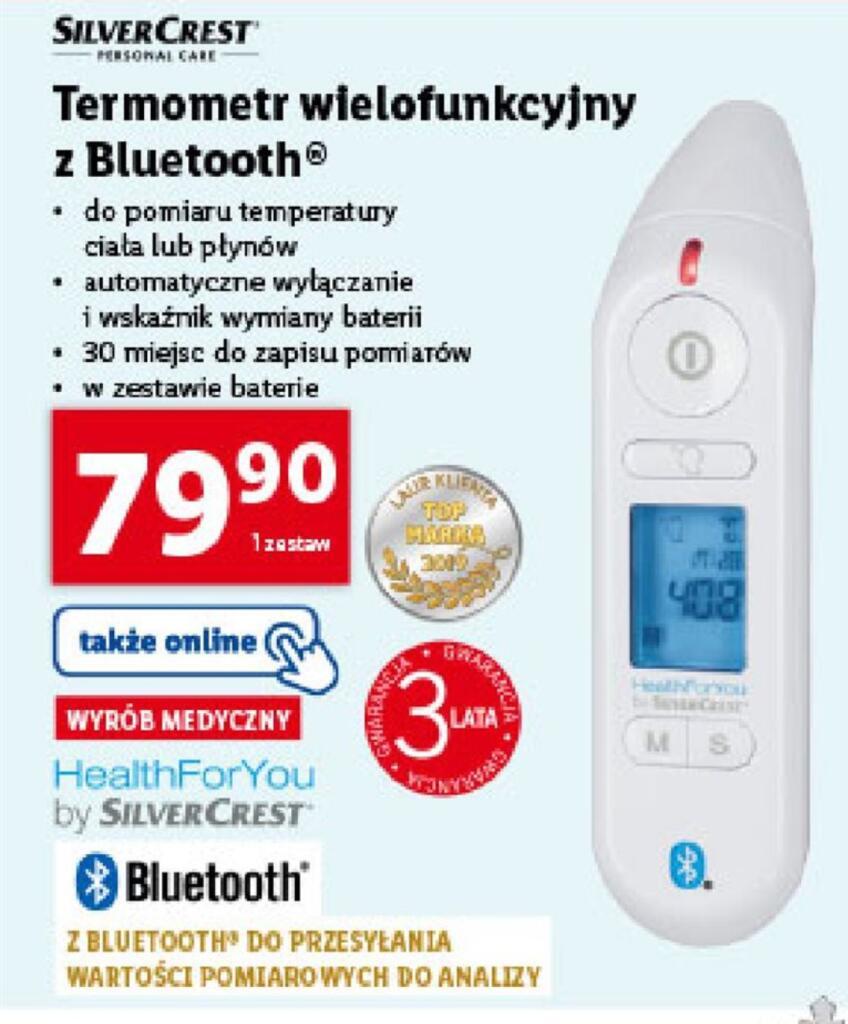 Termometr SilverCrest z Bluetooth w Lidl do pomiaru temperatury ciała lub płynów
