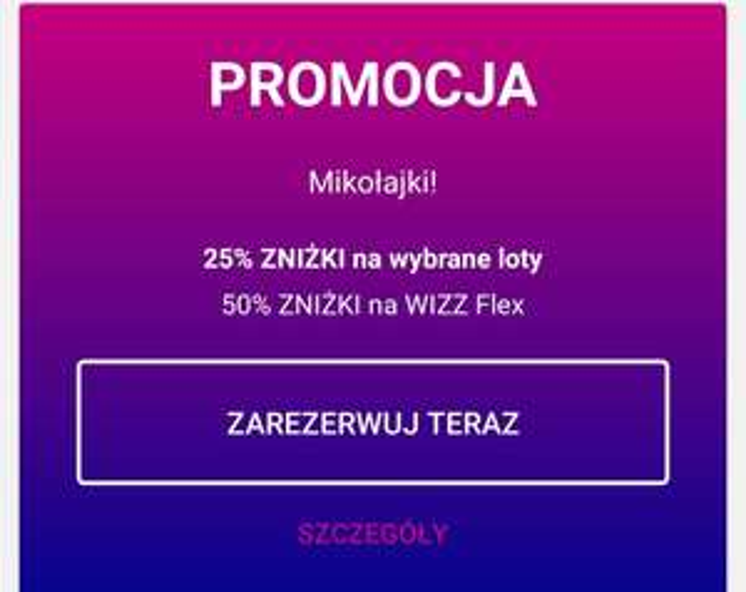 Wizzair flex -50% i rabat na wybrane połączenia -25% - Mikołajki