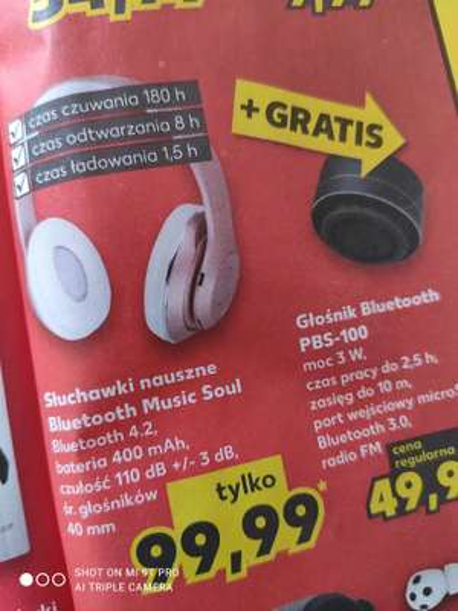 Słuchawki nauszne bluetooth Music Soul + gratis głośnik Kaufland